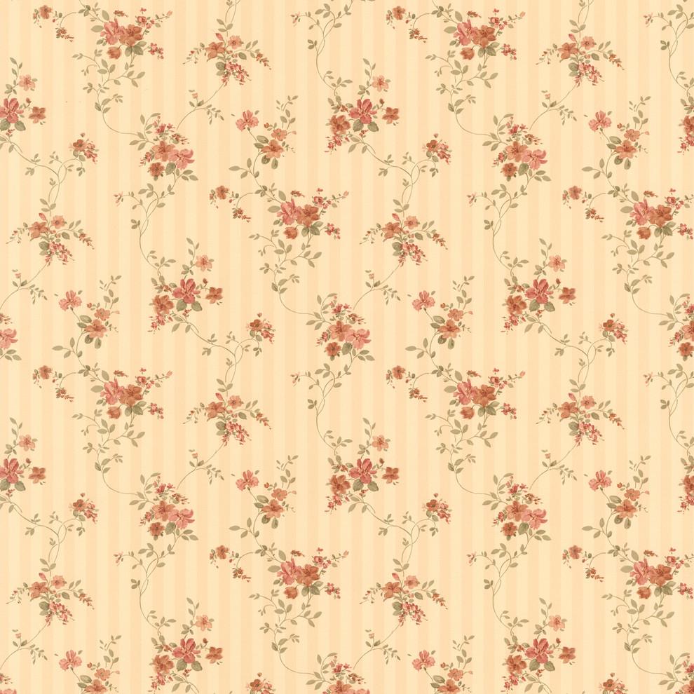 Laurie Beige Floral Stripe Wallpaper Contemporary Wallpaper