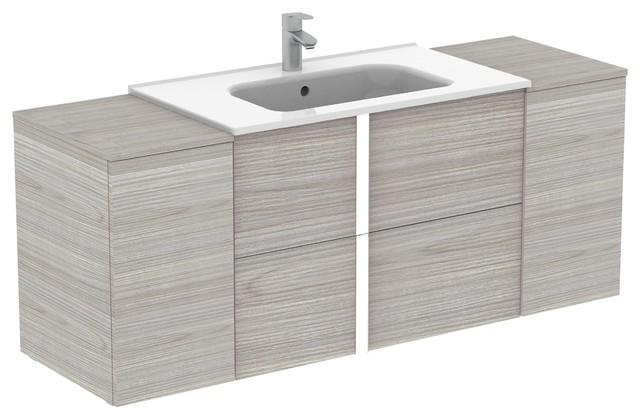Onix Modern Wall Mounted Bathroom, 56 Inch Bathroom Vanity