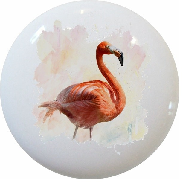 Pink Flamingo Watercolor Ceramic Cabinet Drawer Knob - Cabinet And Drawer Knobs - by Carolina ...