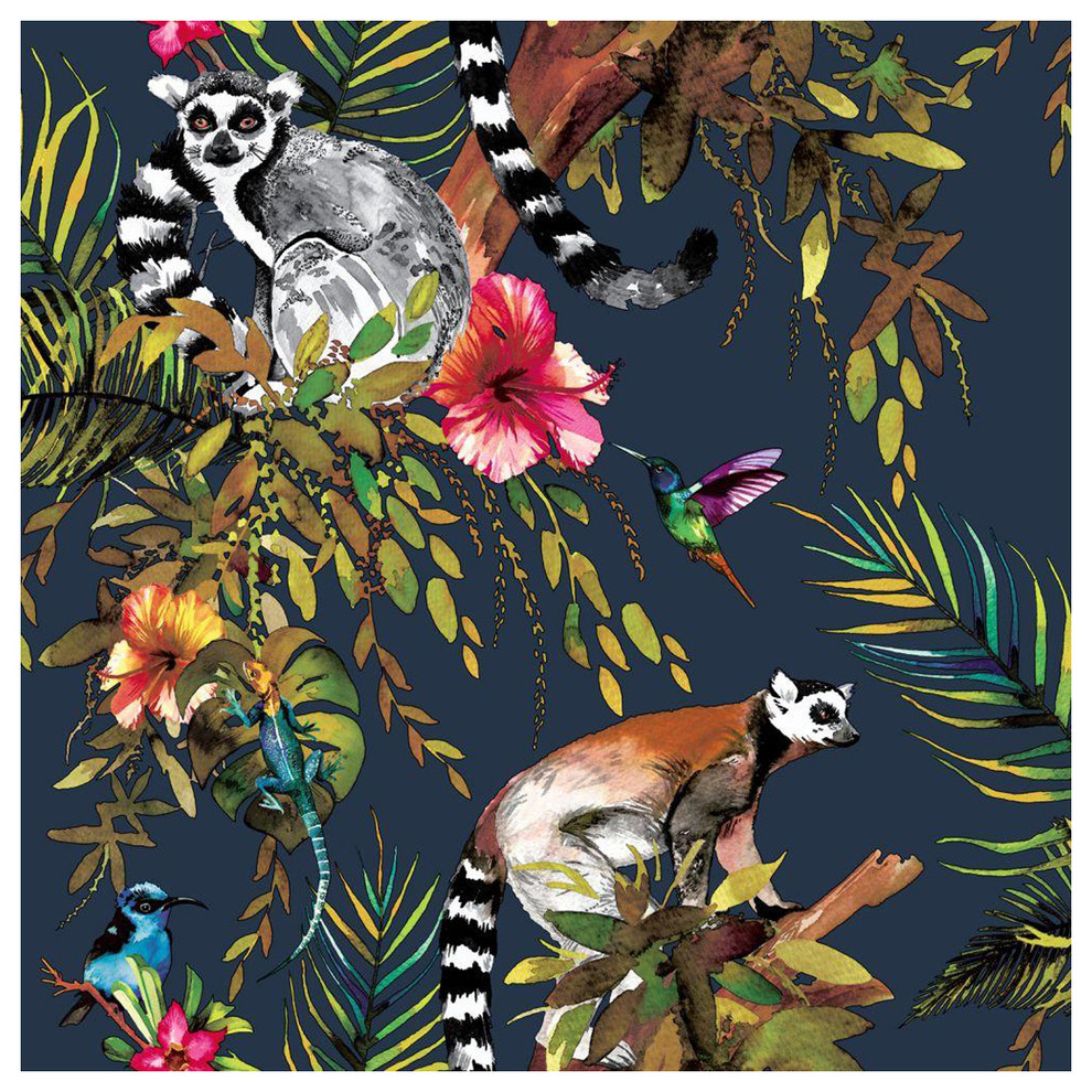 Madagascar Wallpaper Navy 32 Tropical Wallpaper By The