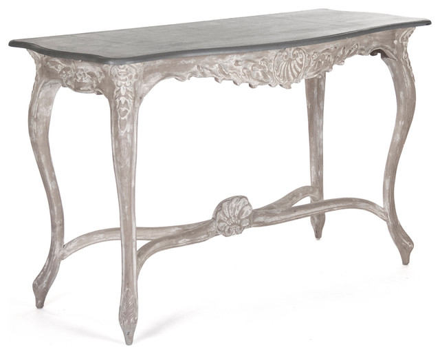 Rita Swedish Gustavian French Style Carved Wood Console Table