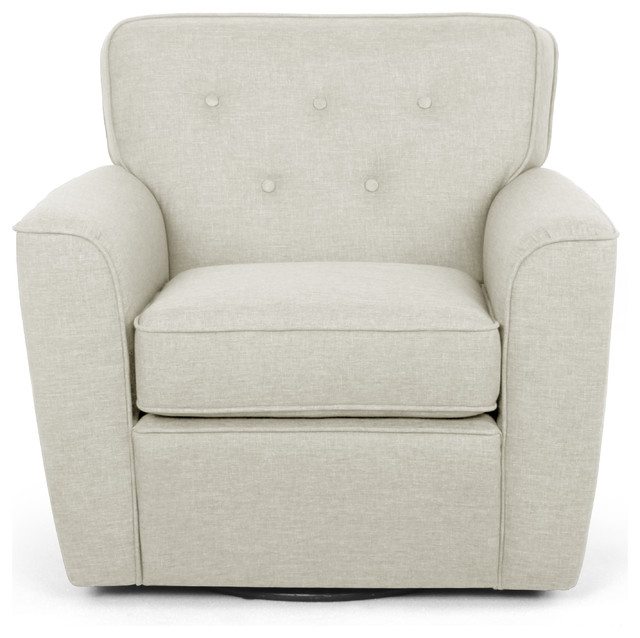Canberra beige fabric button tufted swivel lounge chair for Swivel accent chairs with arms