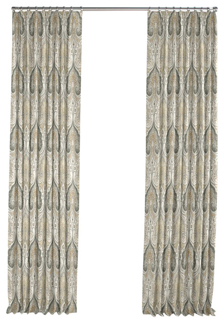 gray and tan paisley damask pleated curtain single panel mediterranean curtains by loom decor. Black Bedroom Furniture Sets. Home Design Ideas