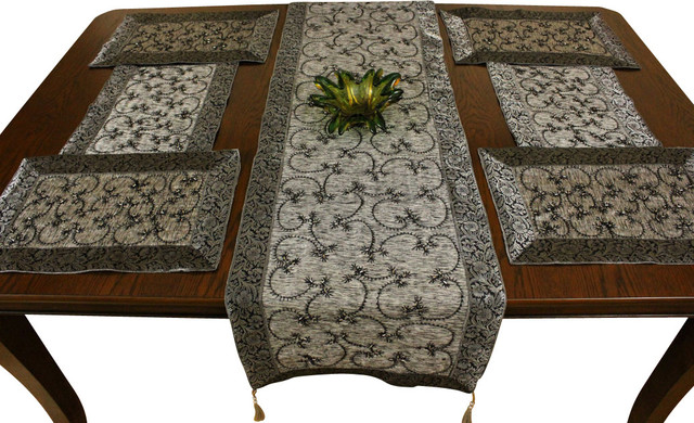 Embroidered Placemats And Table Runner 7 Piece Set