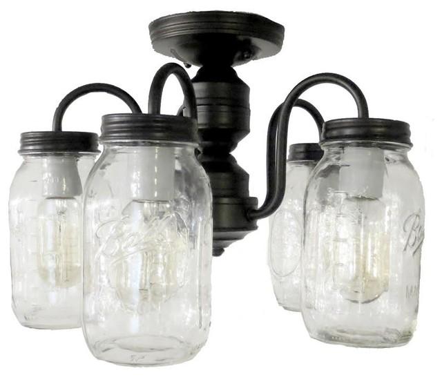 Mason Jar Ceiling Light 5-Light Quarts, Antique Black.