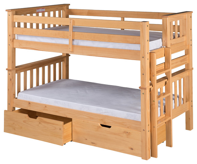 Santa Fe Mission Low Bunk Bed Twin Over Twin, Bed End Ladder, Drawers, Natural.