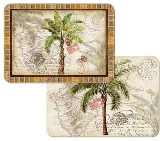 Reversible Plastic Wipe Clean Placemats West Indies Palm