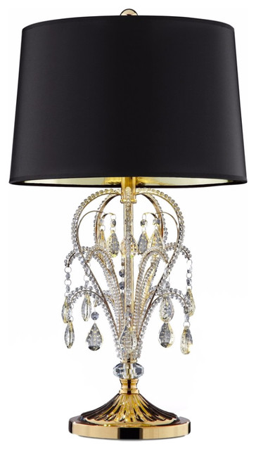 "28.5"" Tall Table Lamp ""bellissimo"", Gold Finish And Crystal Accents, Black Shade."