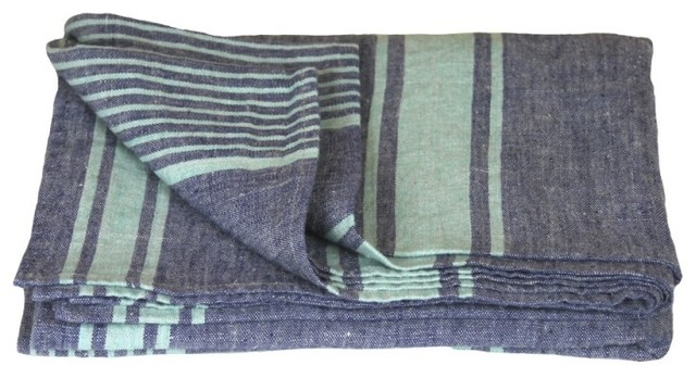 Linen Deck Towel Stonewashed Oversized Blue With Light Green Stripes Thick Linen