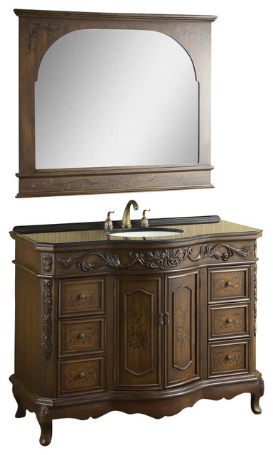 Ica Furniture Single Sink Vanity Set With Floral Design Brown 48 View In Your Room Houzz