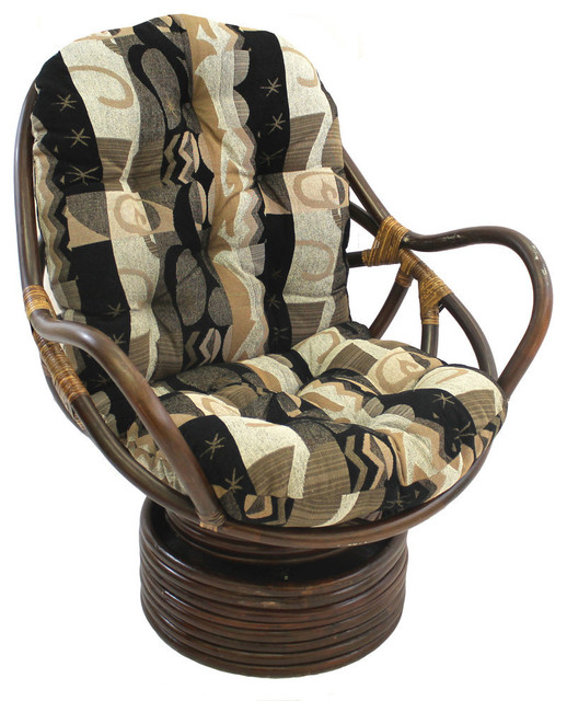 Rattan Swivel Rocker with Cushion Rocking Chairs by