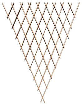 Set Of 2 Pcs Peeled Willow Fan Trellis, 24w X 60h, Light Mahogany Color.