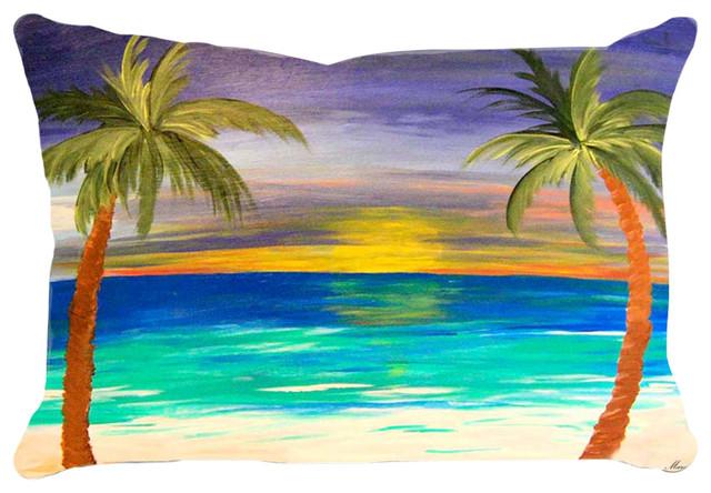 Art gifts by the beach lumbar - Beach House Lumbar Pillows, Sunset Palm Beach & Reviews Houzz