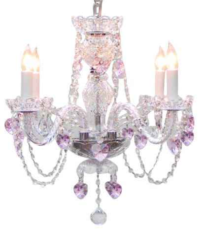 Crystal Chandelier With Pink Crystal Hearts Traditional - Chandelier crystals pink