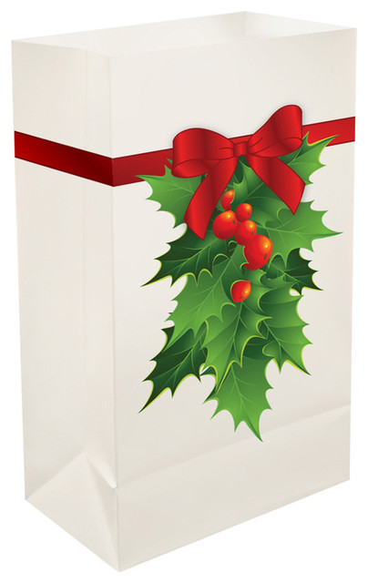 Plastic Luminaria Bags, Holly, Set Of 12.