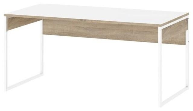 Scandinavian Desks tvilum hamilton computer desk, white and oak structure