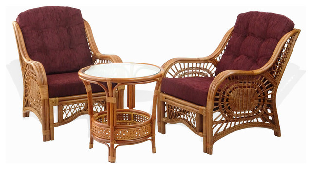 Malibu 3 Piece Rattan Wicker Living Room Set With Cushions, Colonial/Dark  Brown