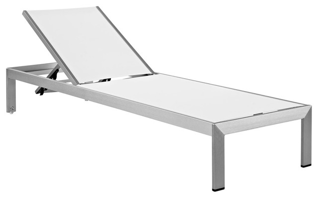 Modern Contemporary Urban Outdoor Patio Chaise Lounge Chair, White, Aluminum
