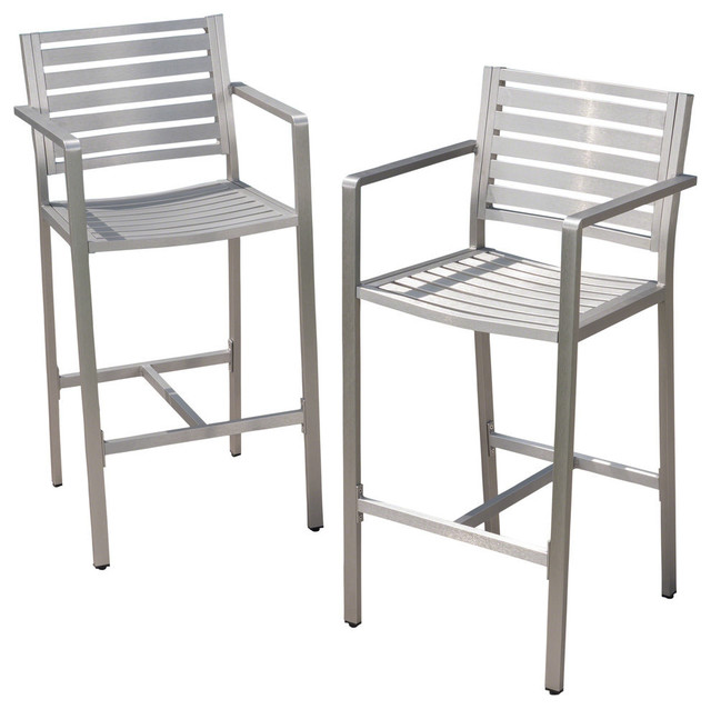 Pleasant Gdf Studio Tammy Coral Outdoor Silver Rust Proof 29 50 Barstools Set Of 2 Andrewgaddart Wooden Chair Designs For Living Room Andrewgaddartcom