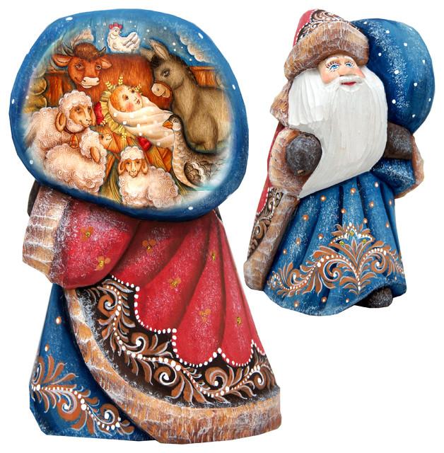 Wood Carved Santa With Bag.