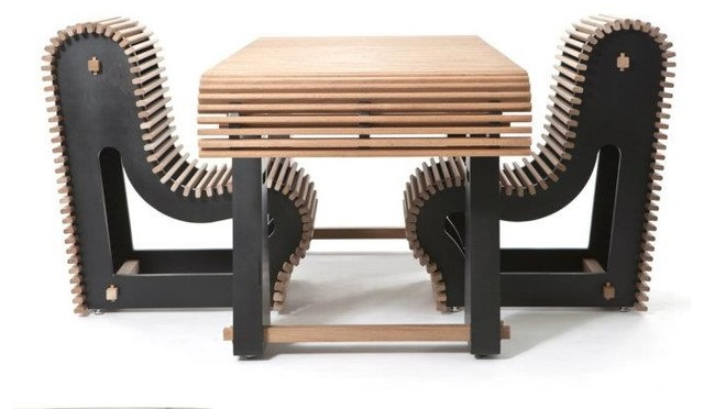 Polygon Slatted Garden Table