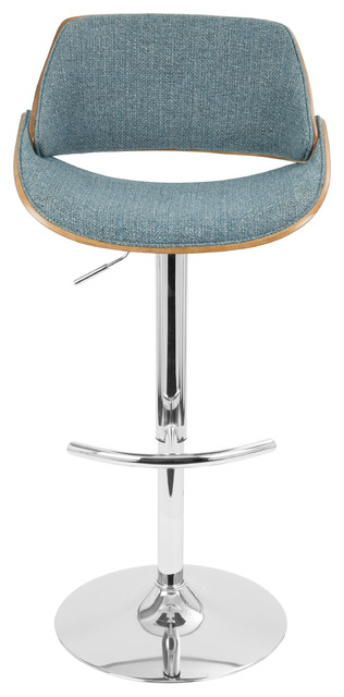 Strange Fabrizzi Mid Century Modern Adjustable Barstool With Swivel Walnut And Blue Forskolin Free Trial Chair Design Images Forskolin Free Trialorg