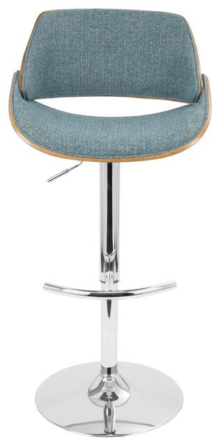 7762404d9ac0 Fabrizzi Mid-Century Modern Adjustable Barstool With Swivel, Walnut and Blue
