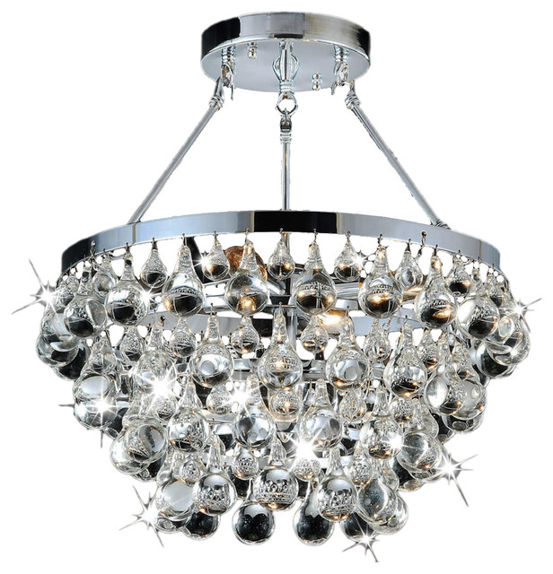 Sparkling Clear Gl Crystal 5 Light Luxury Chrome Flash Mount Chandelier