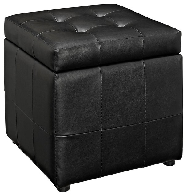 Modway Furniture Volt Storage Ottoman, Black Transitional Footstools  And Ottomans