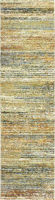 "Oriental Weavers Atlas Gold/Green Abstract 8037J Area Rug, Runner 2'3""x8'"