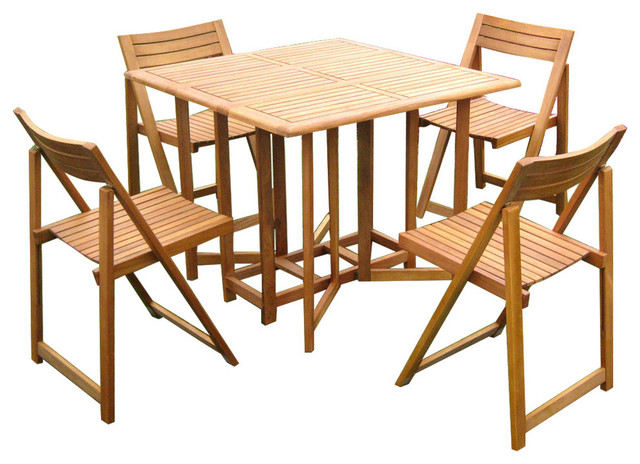 Galveston 5-Piece Table Set, Brown Stain - Transitional ...