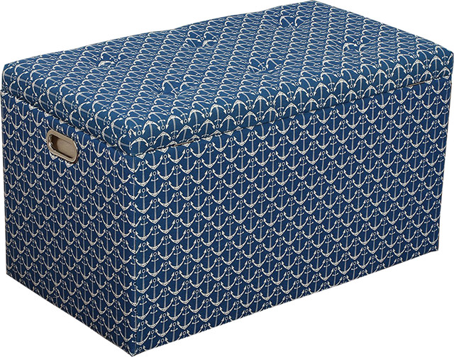 Merveilleux 5 Piece Cloth Storage Ottoman With Stools, 3 Ottomans And 2 Stools Navy  White
