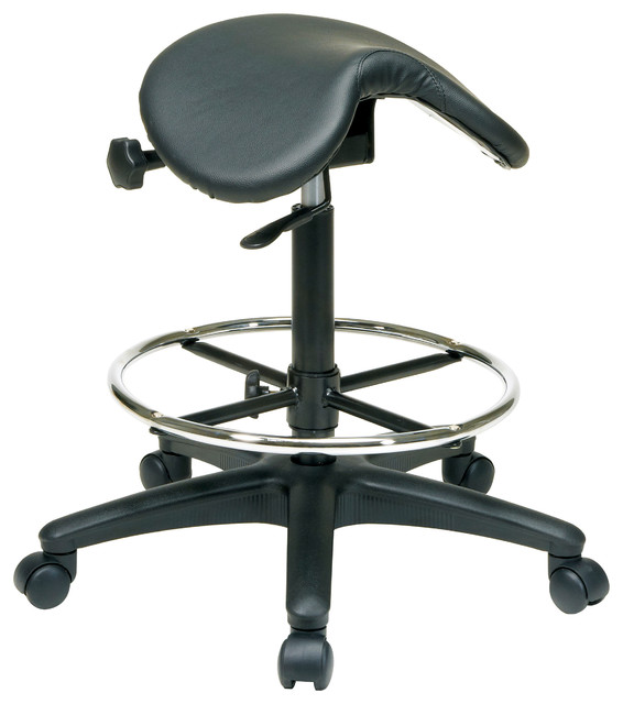 Work Smart Backless Stool With Saddle Seat, Black