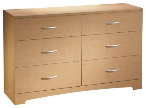 6 Drawer Dresser Modern Bedroom Chest, Natural Maple Finish.