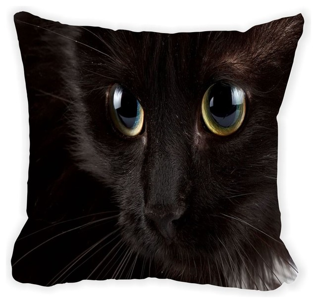 Black Microfiber Throw Pillows : Black Cat Glassy Blue Eyes Microfiber Throw Pillow - Contemporary - Decorative Pillows - by ...