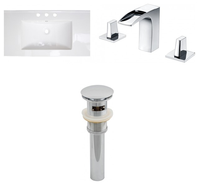 "Ceramic Top Set, White, Single Hole Cupc Faucet And Drain, 24""x18""."