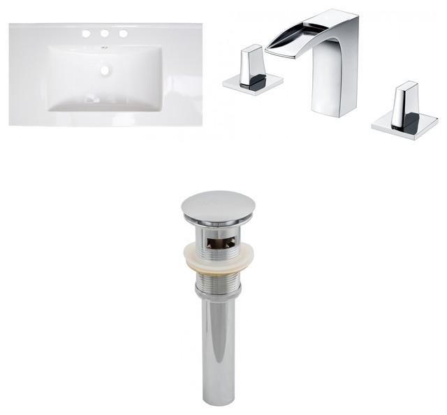 Ceramic Top Set, White, Single Hole Cupc Faucet And Drain, 24x18.