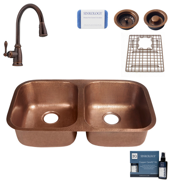 """Kandinsky 32.25"""" Undermount Copper Kitchen Sink, Canton Faucet and Drains"""