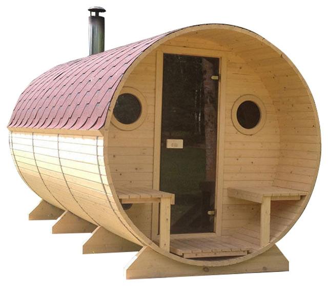BZBCabins Barrel Sauna Kit W44, 8 Person Sauna With Harvia Wood Stove, 2 Rooms