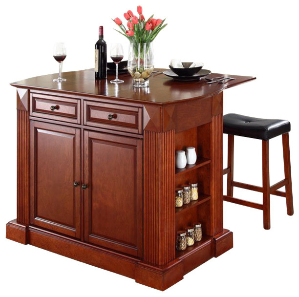 Crosley Coventry Drop Leaf Breakfast Bar Kitchen Island With Stools In Cherry Kitchen Islands