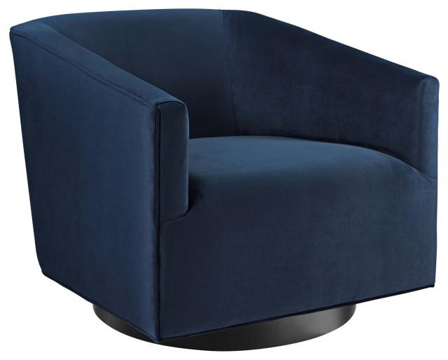 Twist Accent Lounge Performance Velvet Swivel Chair, Midnight Blue