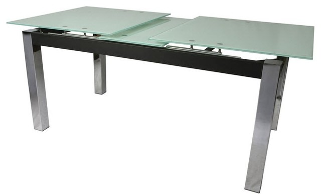 Monaco Rectangular Dining Table With Extendable Glass Top Contemporary Di
