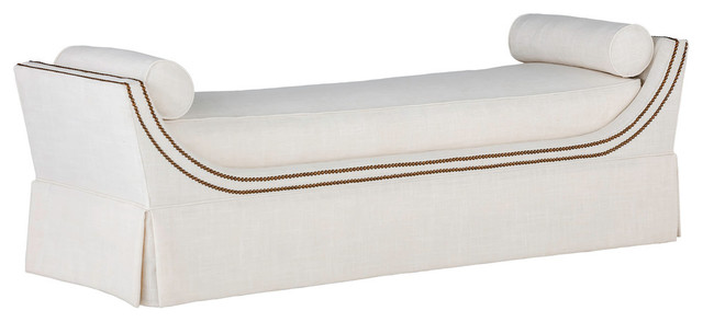 Gabby Gayle Curved Frame King Size Bench, Gray Zulu Feather.