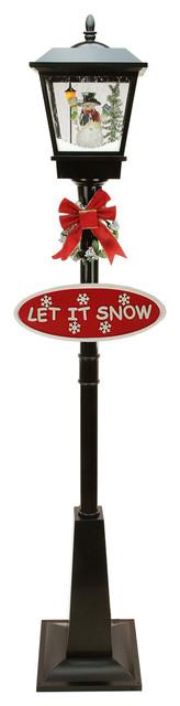 "70.75"" Lighted Musical Snowman Vertical Snowing Christmas Street Lamp"