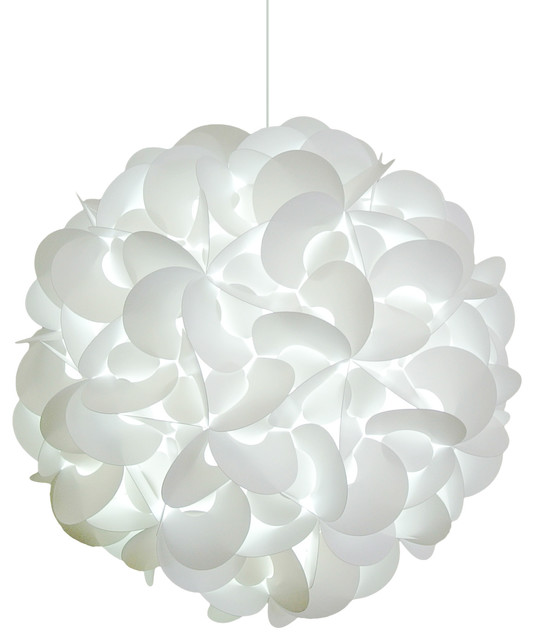 Deluxe Rounds Pendant Light Fixture, LED Bulb, Cool White Glow ...