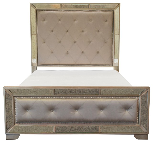 Transitional Bedroom Sets: Ava Mirrored Silver Bronzed Bed