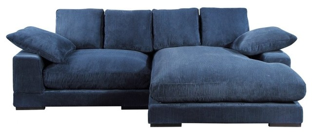 106 W Navy Sectional With Flip Chaise Corduroy Wooden Frame Rubber Wood Legs