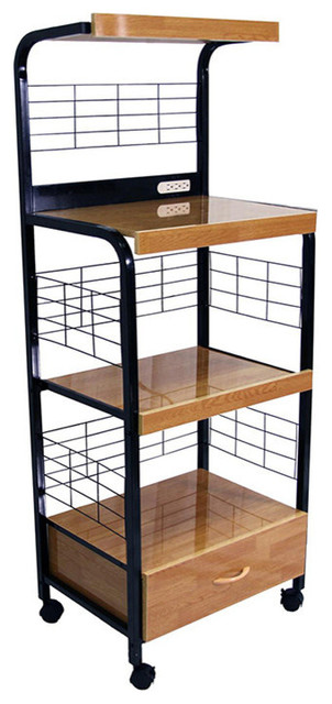 Microwave Cart With Outlet, Black.