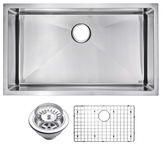 Corner Radius Single Bowl Undermount Sink With Drain, Strainer, And Bottom Grid.
