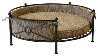 Rounded Pet Bed Smoked Metal Traditional Dog Beds